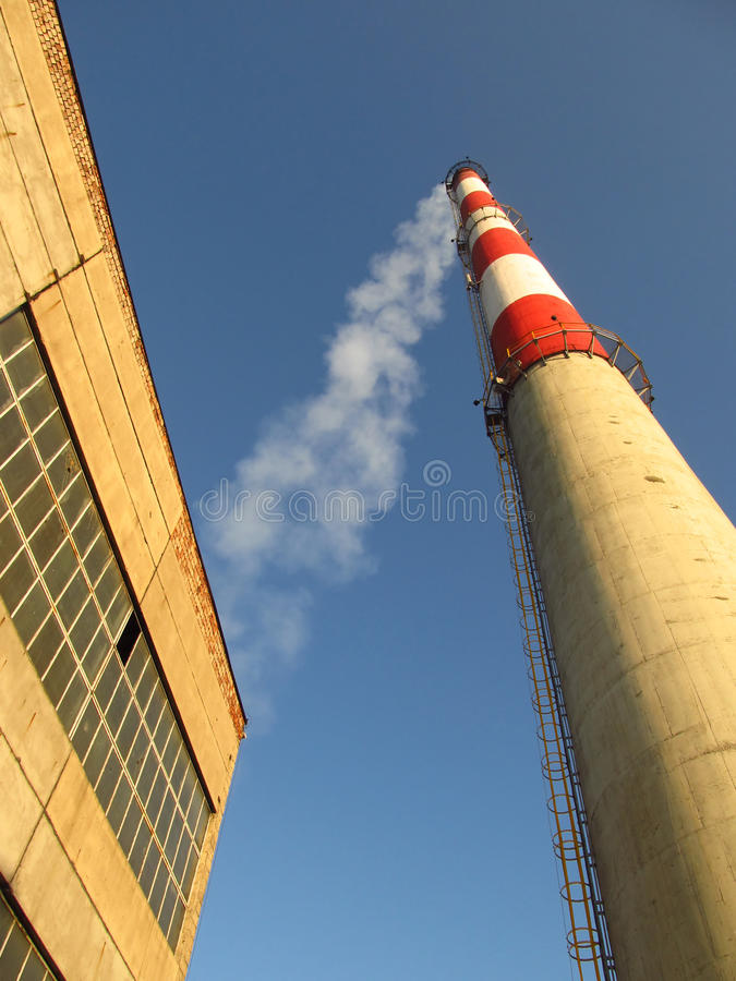 Download High white-red chimney stock photo. Image of industrial - 22711914