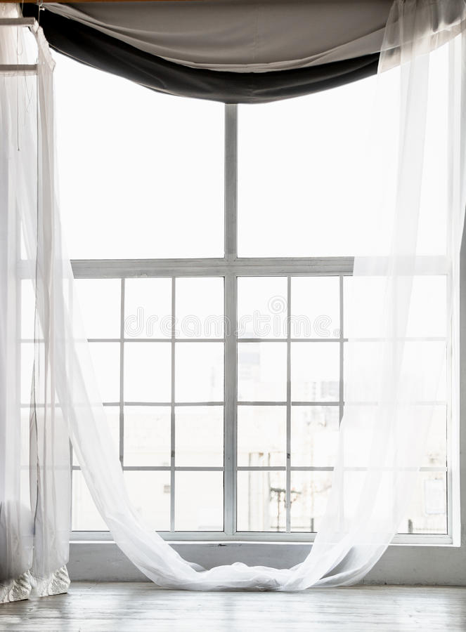 High Window From Ceiling To Floor With Long White Curtains Stock Photo Image Of Home Material