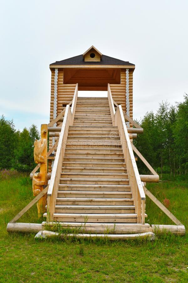 High wooden slide for driving stock photos