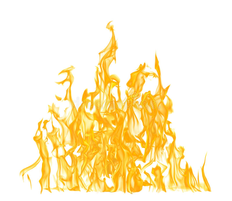 High yellow flame isolated on white. Background stock photos