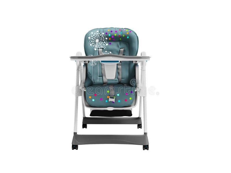 Highchair bleu pour l'enfant de alimentation avec la literie molle et créneau pour des choses avec la table 3d ne rendre sur le f illustration de vecteur
