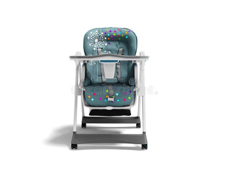 Highchair bleu pour l'enfant de alimentation avec la literie molle et créneau pour des choses avec la table 3d rendre sur le fond illustration stock