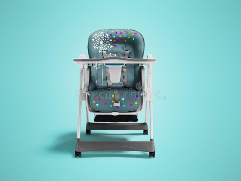 Highchair bleu pour l'enfant de alimentation avec la literie molle et créneau pour des choses avec la table 3d rendre sur le fond illustration libre de droits
