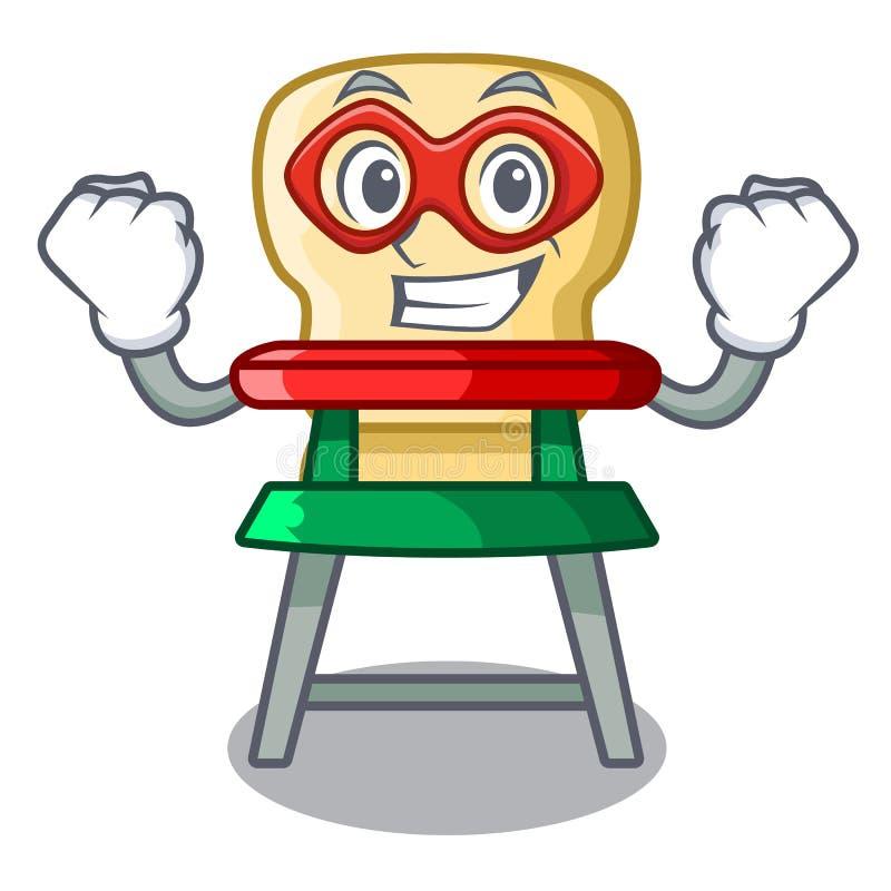 Highchair de bébé de bande dessinée de superhéros pour l'alimentation d'enfants illustration libre de droits
