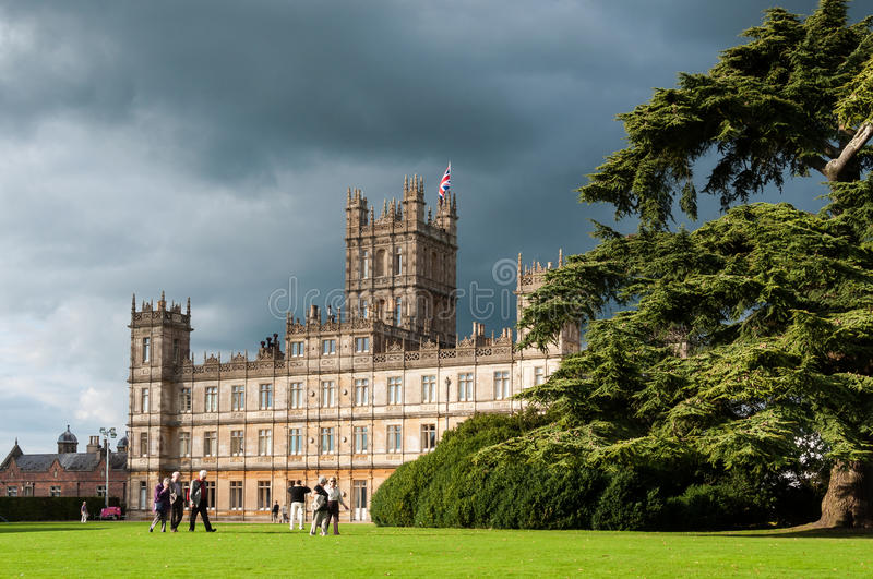 Highclere castle. NEWBURY, UK - CIRCA OCTOBER 2011: Highclere Castle is the main setting for the ITV period drama Downton Abbey. Downton Abbey is broadcasted in stock images