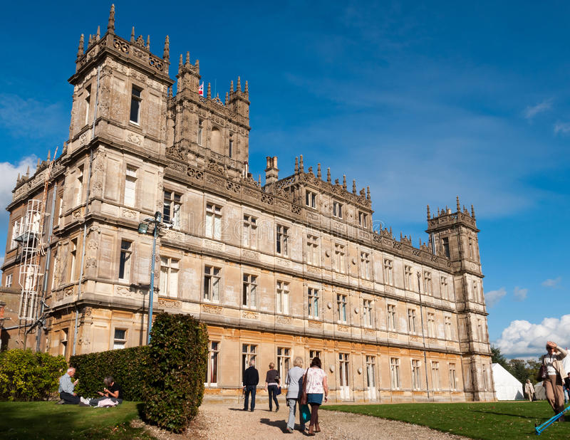 Highclere castle. NEWBURY, UK - CIRCA OCTOBER 2011: Highclere Castle is the main setting for the ITV period drama Downton Abbey. Downton Abbey is broadcasted in stock photography