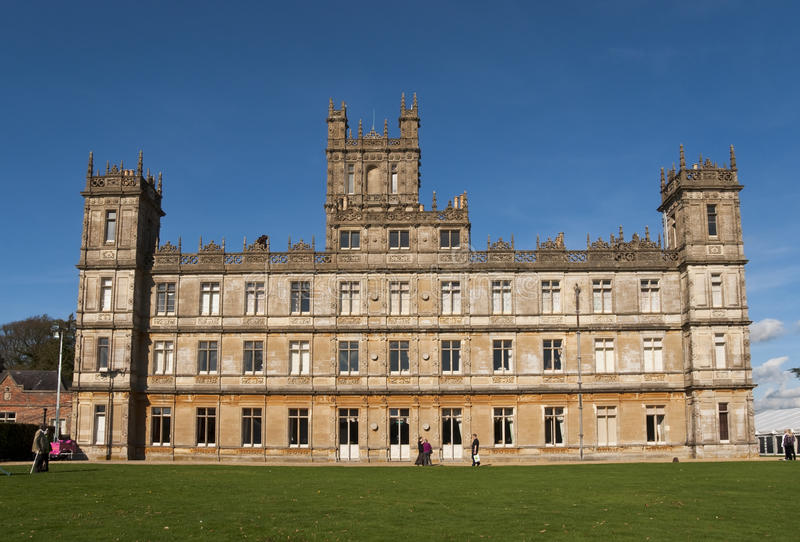 Highclere Castle which features as Downton Abbey. NEWBURY - OCTOBER 13: Highclere Castle is the main setting for the ITV period drama Downton Abbey, on October royalty free stock images