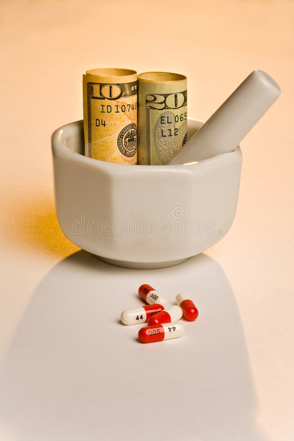 Higher cost less medicine stock image