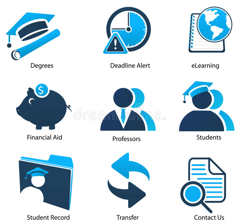 Download Higher Education Icons Set Two Stock Illustration - Illustration of student, college: 17721446