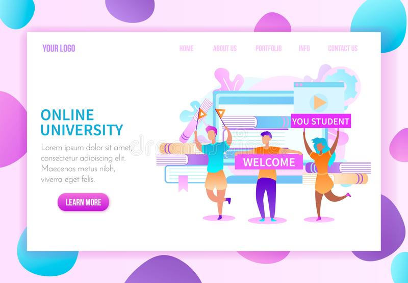 Higher Education Online Vector Web Page Template vector illustration