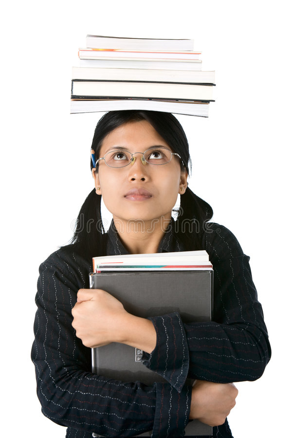 Higher Education : smart student. She looked the books (burden) she must carry getting more heavier as higher education she received royalty free stock images