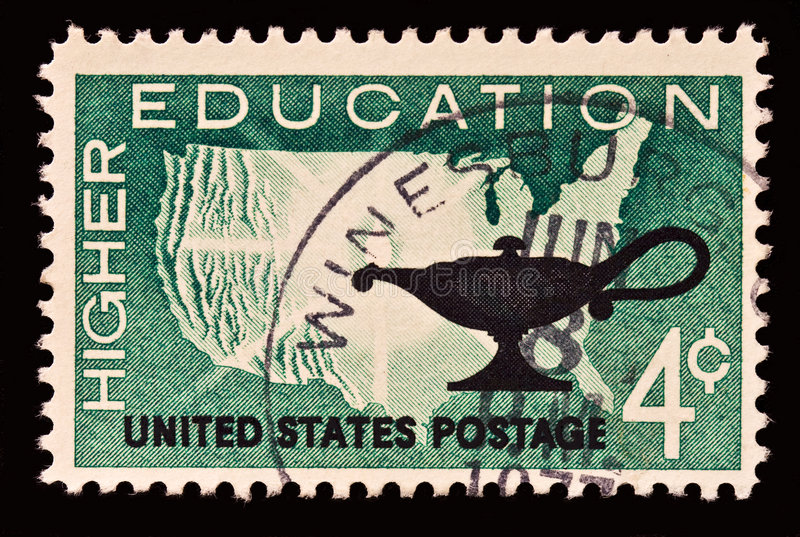Higher Education Stamp. Honoring higher education role in American culture. Issued in 1962 royalty free stock image