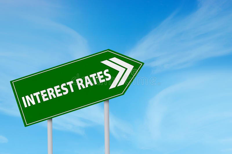 Higher Interest Rates. Roadsign of higher interest rates ahead against blue sky royalty free stock image