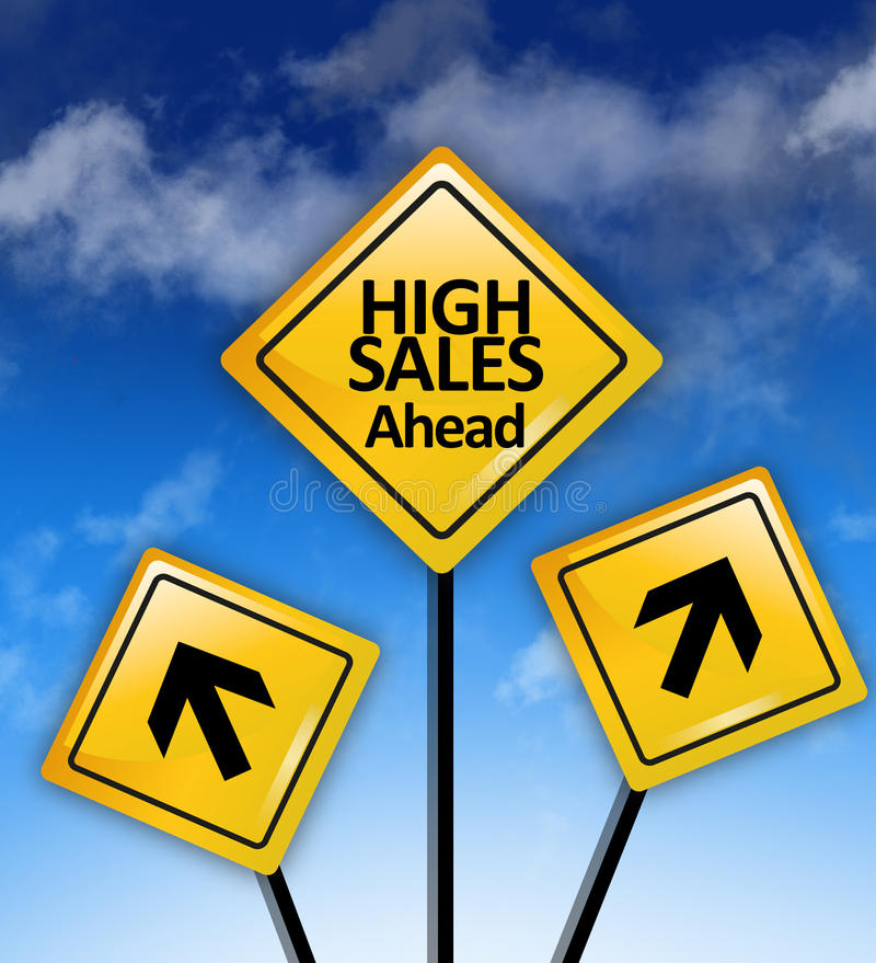 Higher sales ahead concept. With road signs stock photos