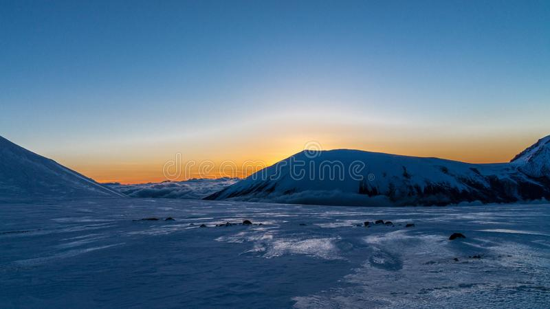 Higher than clouds. Sunset in the mountains. From our journey stock images