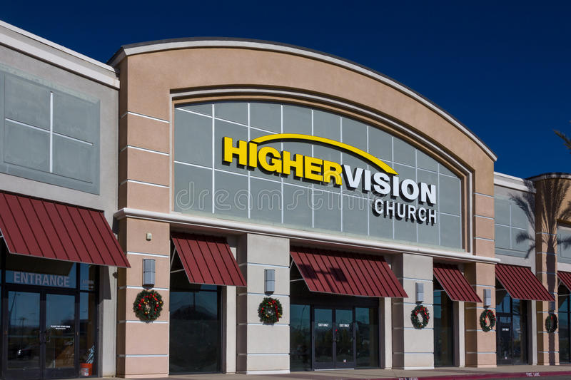 Higher Vision Church Exterior and Logo. VALENCIA CA/USA - DECEMBER 26, 2015: Higher Vision exterior and logo. Higher Vision church is a non-demoninational stock photo