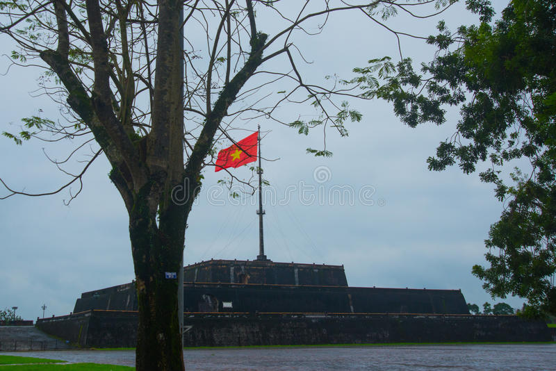 The highest flagstop in Vietnam. The huge building of aealo fortress in the city of Hanoi in Vietname royalty free stock photo