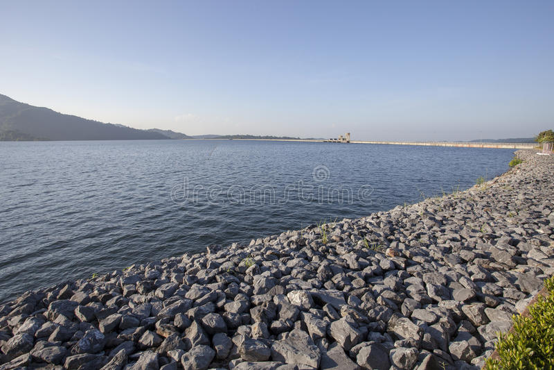 Highest full level of water storage in khun dan prakarn chon dam. Nakorn nayok thailand stock image