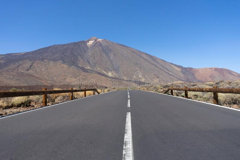 The highest mountain of Spain El Teide, world heritage by Unesco. Volcano in Tenerife, Canary Islands. Volcanic sight and. Formation in the reserve of the royalty free stock images