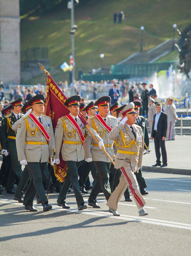 Highest officers of the Ukrainian Army at the military parade in stock photography