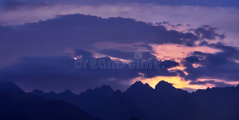Highest peak of Poland Rysy after dusk royalty free stock images