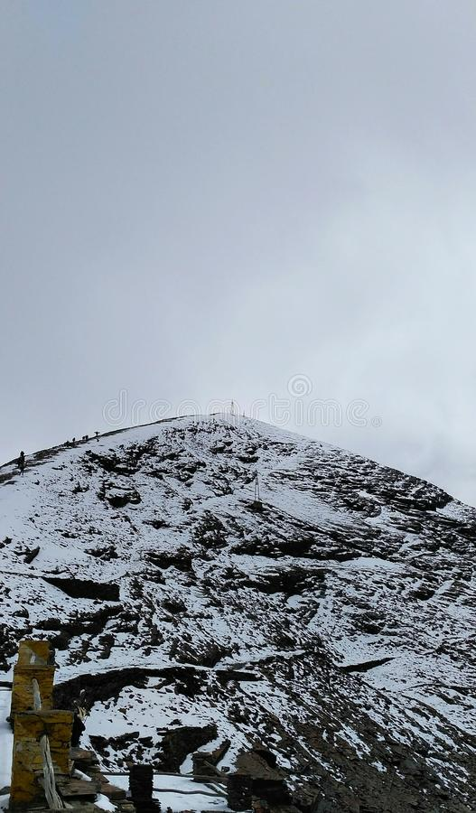 Highest point of the chacaltaya mountain. 5400 meters above sea level stock images