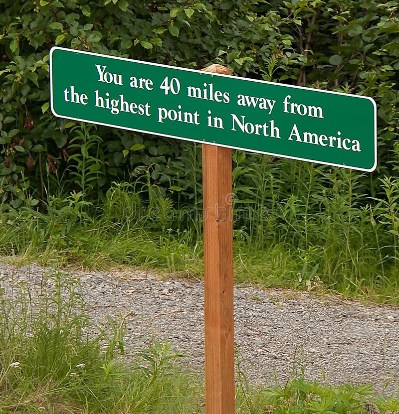 Highest Point North America Sign stock photos