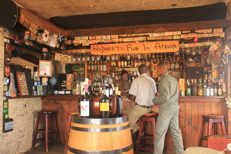 Highest pub in Africa, the sani mountain lodge, sani pass, Lesotho. Located in a remote region of the drakensberg mountains. Sani Mountain Lodge is the highest royalty free stock photography