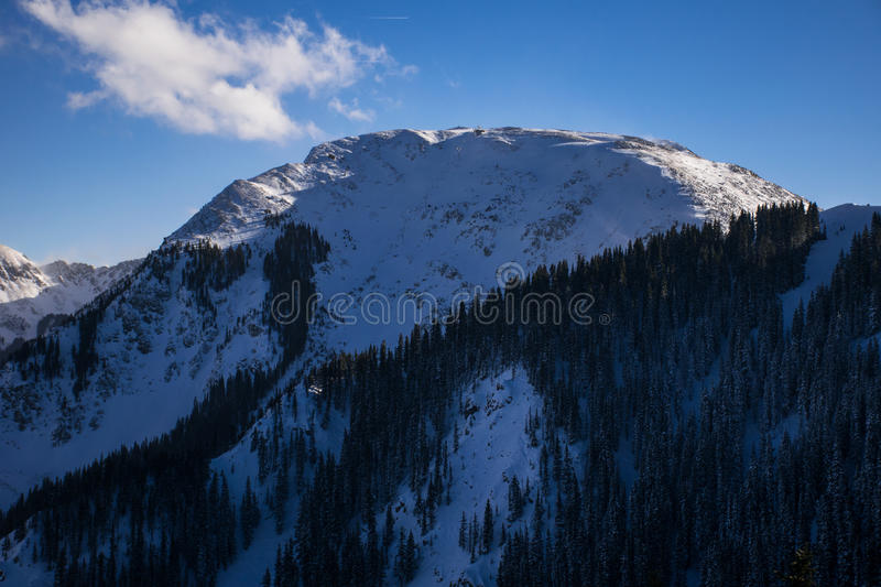 Highest Ski Lift America Kachina Peak Taos Ski Valley. In Taos New Mexico with Snow covering the ground. This Valley Red River MountainScape this is a gorgeous royalty free stock photos