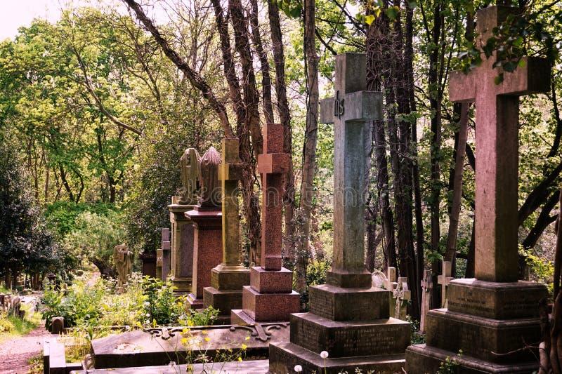 HIGHGATE, LONDRA, Regno Unito - 12 marzo 2016: Tombe nel cimitero orientale del cimitero di Highgate fotografia stock