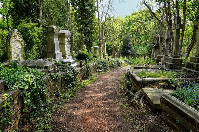 HIGHGATE, LONDRA, Regno Unito - 12 marzo 2016: Tombe nel cimitero orientale del cimitero di Highgate fotografie stock libere da diritti