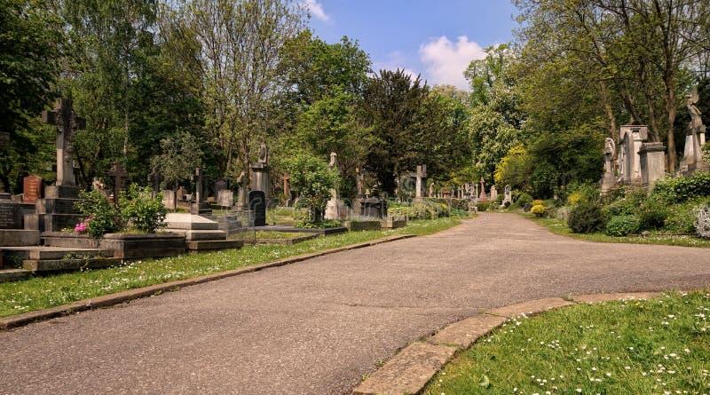 HIGHGATE, LONDYN, UK - Marzec 12, 2016: Ścieżka prowadzi przez Wschodniego cmentarza obrazy stock