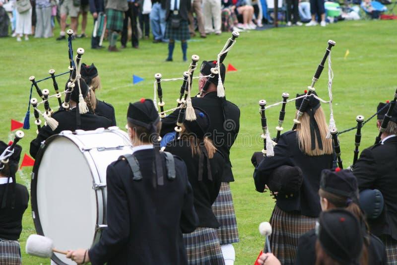 Highland band rear view royalty free stock image
