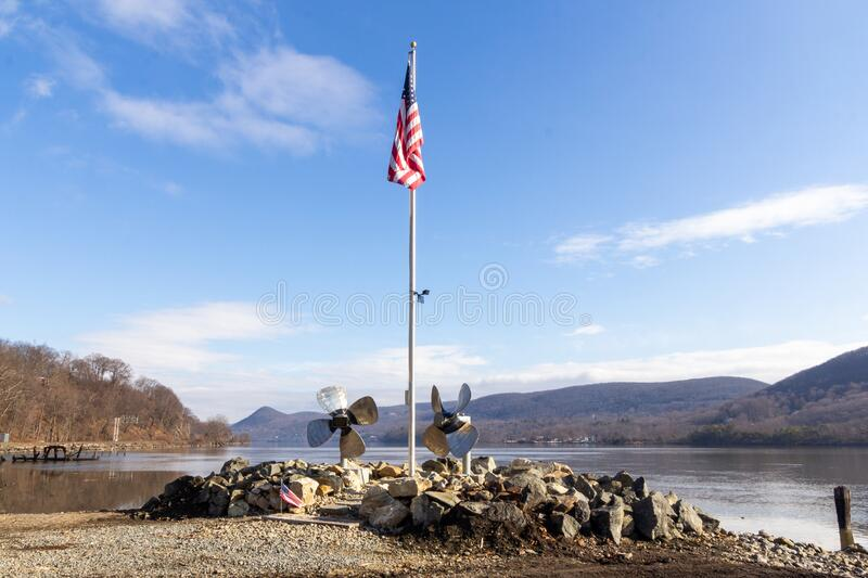 Highland Falls, NY, / United States - Feb. 2, 2020: Landscape view of the scenic Mine Dock Park located on the Hudson River. Horizontal view of the scenic Mine stock image