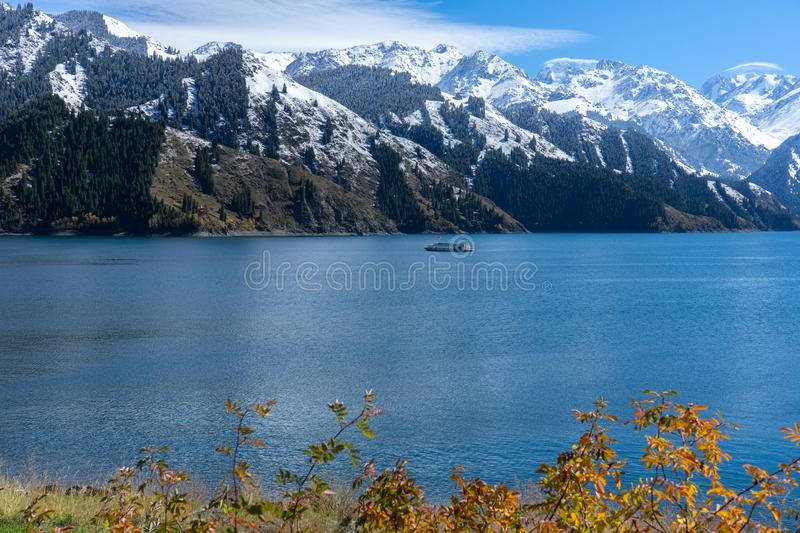 Highland lake landscape with background snowy mountain scene in autumn at Xinjiang, china. Copy space, clear, blue, sky, ice, forest, national, park, nature royalty free stock photos