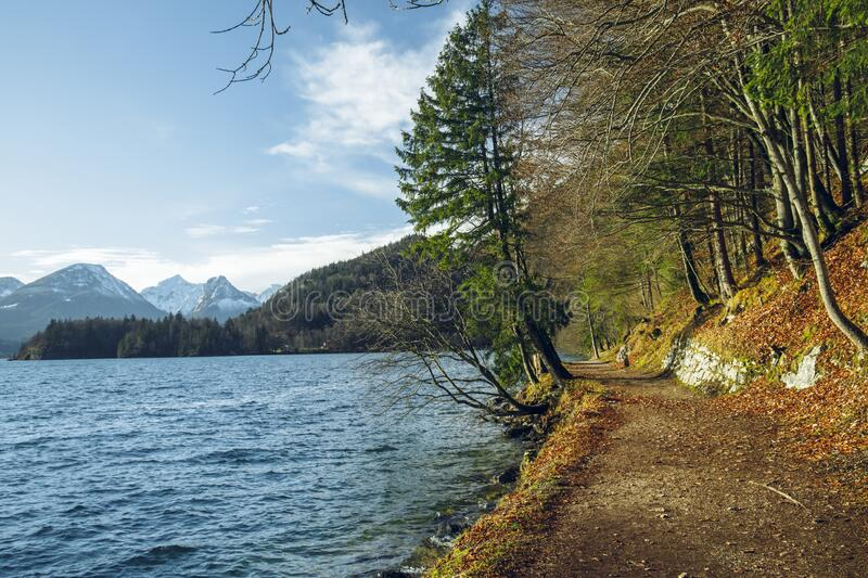 Highland peaceful trail around lake beautiful place for walking and promenade in pine forest landscape area with Alps mountain. Picturesque background in March stock photo