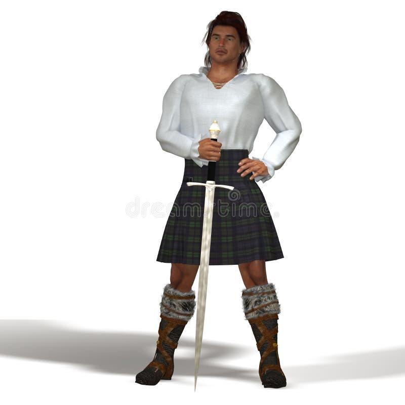 Highlander with sword stock illustration