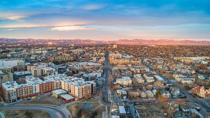 Highlands Area in Denver, Colorado, USA stock images