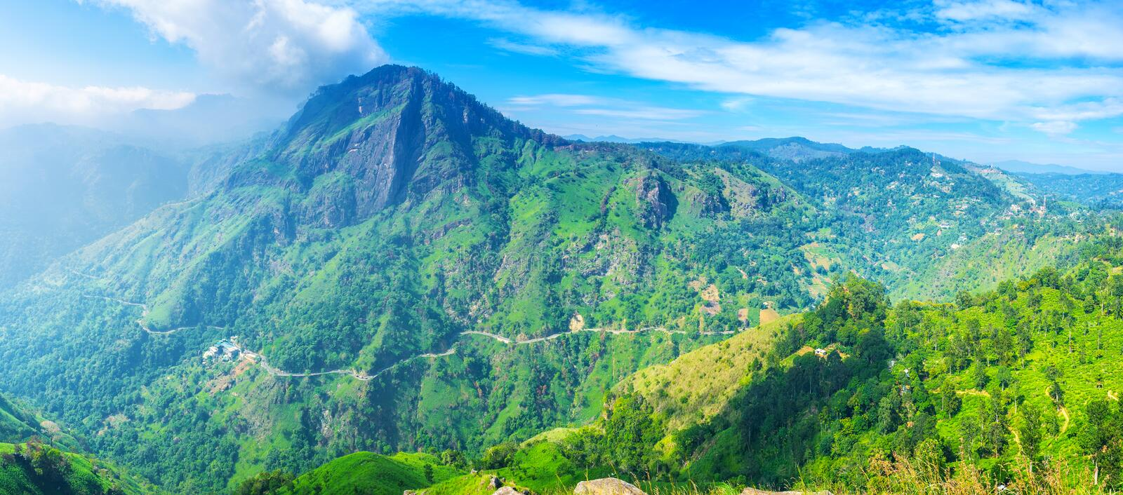 In highlands of Ella. Ella resort is the popular ecotourism destination, people arrive here to visit famous mountain peaks and enjoy local nature, Sri Lanka royalty free stock photo