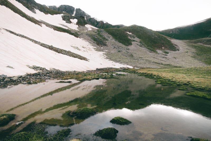 Highlands Seelandschaft mit Wasserreflexion, grünen Hügeln und Schnee stockfotografie