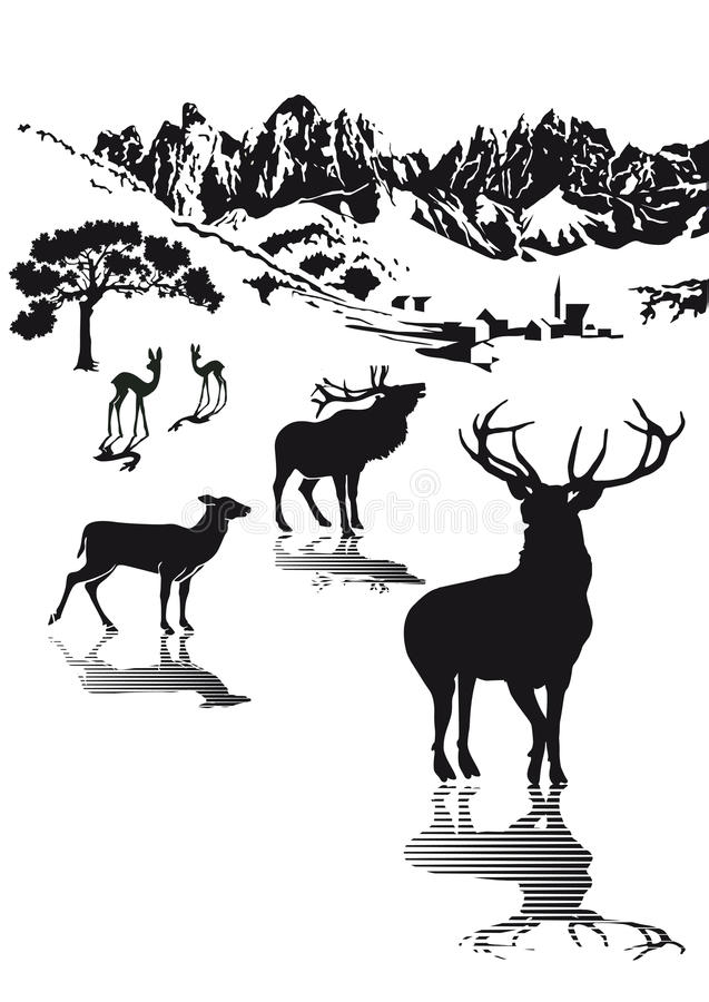 Highlands Wildlife Illustration Royalty Free Stock Photography