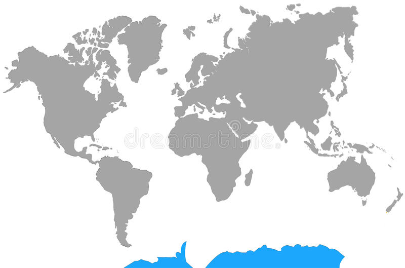 Highlight Antarctica from Continents World Map stock illustration