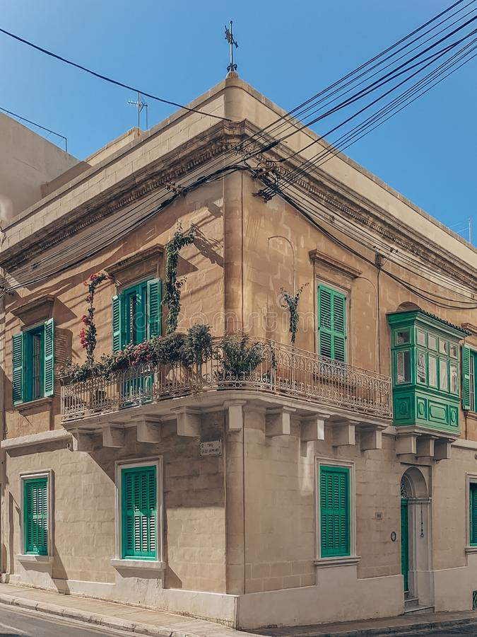 Cute building in Malta. The highlight of Malta is the colorful balconies. By the way, here every house does not have a number, but its own name stock image