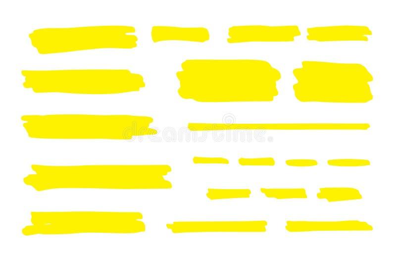 Highlight marker line. Brush pen underline stroke, yellow hand drawn color graphic shape. Vector permanent marker. Lines vector illustration