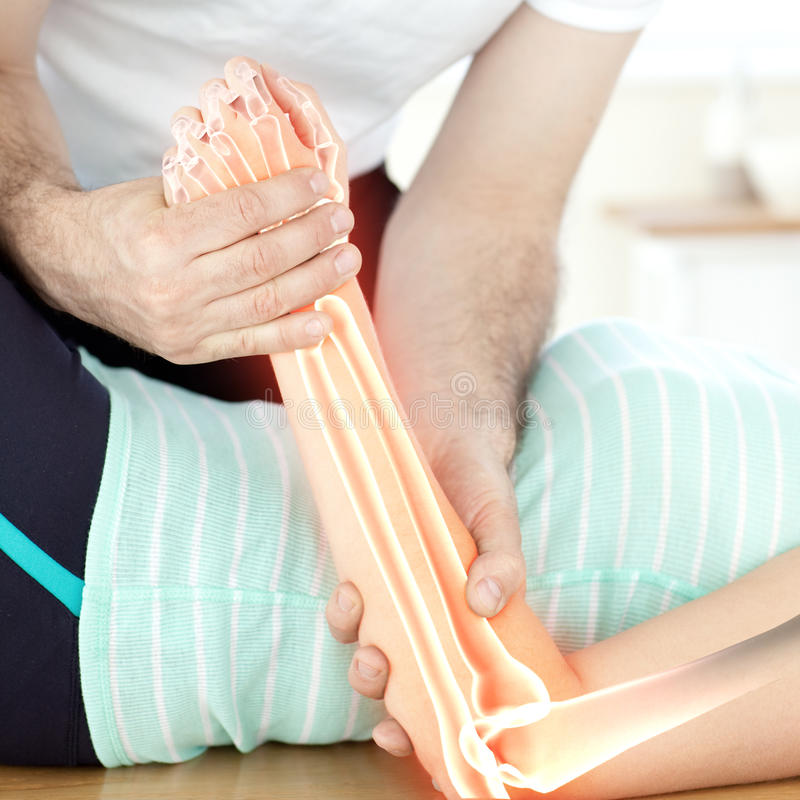 Highlighted bones of woman at physiotherapist stock photos