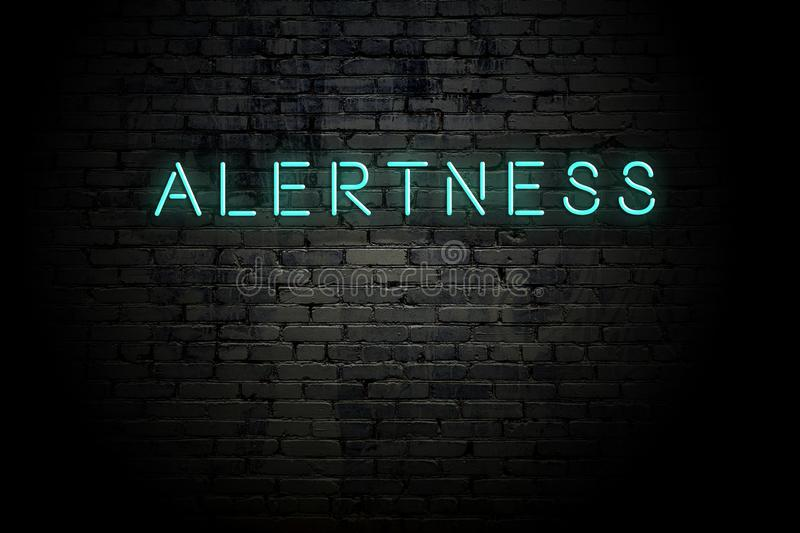 Highlighted brick wall with neon inscription alertness.  royalty free illustration