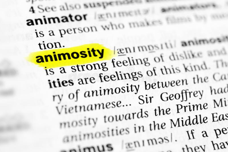 Highlighted English word `animosity` and its definition in the dictionary.  stock image