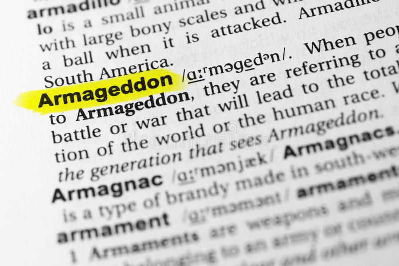 Highlighted English word `armageddon` and its definition in the dictionary.  stock photography