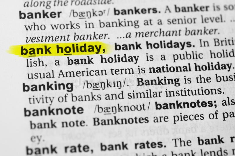 Highlighted English word `bank holiday` and its definition in the dictionary.  royalty free stock photography