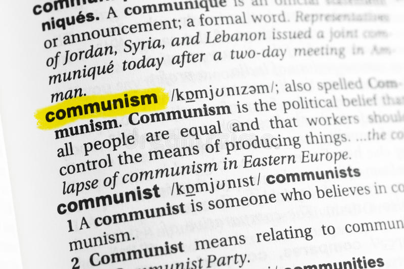 Highlighted English word & x22;communism& x22; and its definition at the dictionary royalty free stock photography